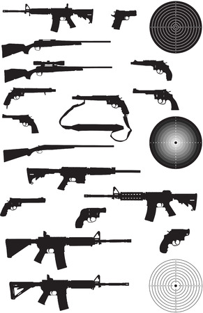 automatic: Gun Silhouette Collection on white background Illustration