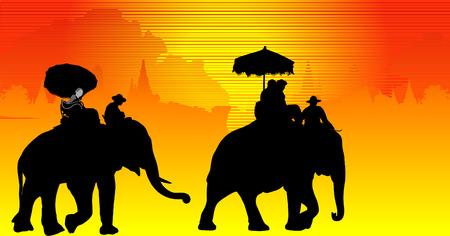silhouettes elephants: Turistas montando elefantes en la provincia de Ayutthaya.  Vectores