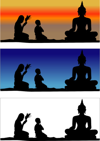 Thai people believe. Pay homage to a Buddha image illustration