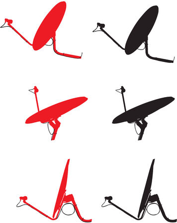 satellite tv: Satellite dishes in residential 3 views red, black on white background.