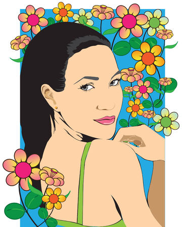 midst: Beautiful girl in the midst of flowers. illustration-vector. EPS