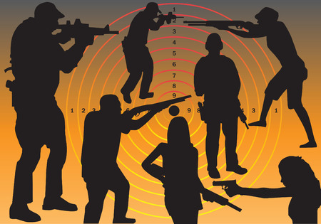 People holding guns Vector