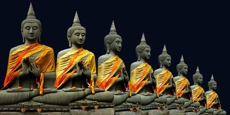 Eight Buddha in Thailand  Thai art culture Belief and faith Stock Photo - 9185478
