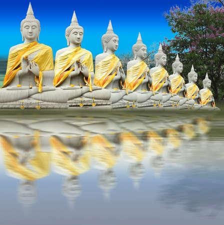 Eight Buddha in Thailand  Thai art culture Belief and faith Stock Photo - 9185433