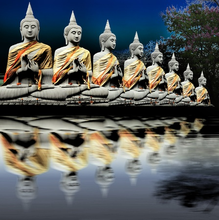 Eight Buddha in Thailand   Thai art culture Belief and faith Stock Photo - 9185415