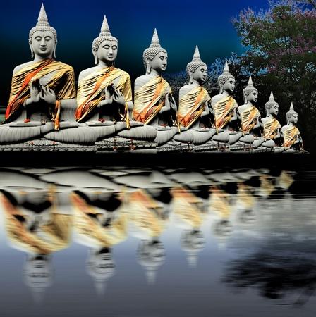 beliefs: Eight Buddha in Thailand   Thai art culture Belief and faith Stock Photo
