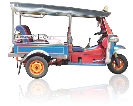 Tuk-tuk in Thailand, the passengers and tourists, on a white background.
