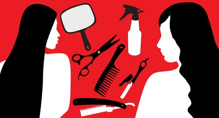 Hair Accessories And a model, Silhouette  Vector