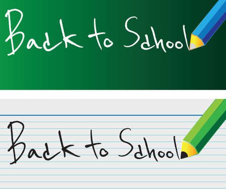 Back to school pencil writing on the board and notebook. Vector