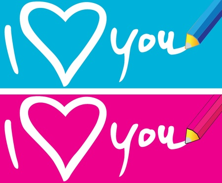Pencil to write messages of love, On the ground blue and pink. Vector