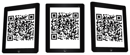 illustration of a mobile phone scanning qr code.  illustration