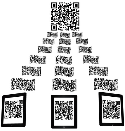 qr: illustration of a mobile phone scanning qr code.