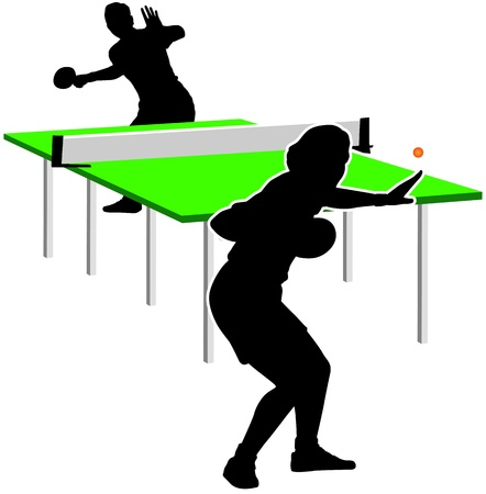 tischtennis: Tischtennis-Spieler. Sind aktiv in der silhouette Illustration
