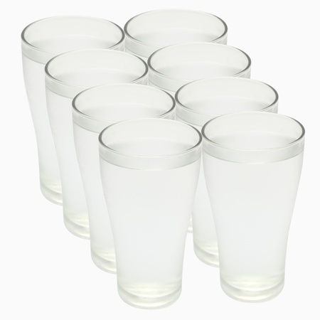 Eight glasses of water on a white background with Clipping Path.