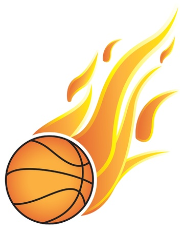 fast ball: Basketball balls with flames. On a white background