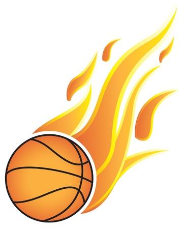 ballon basketball: Boules de basket-ball avec des flammes. Sur un fond blanc Illustration