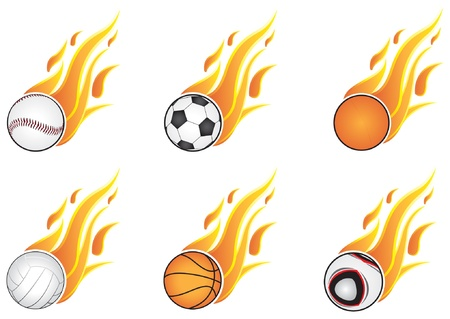 open flame: Six types of sports and open flame. On a white background Illustration