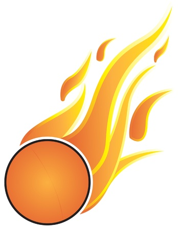 Table Tennis balls with flames. On a white background