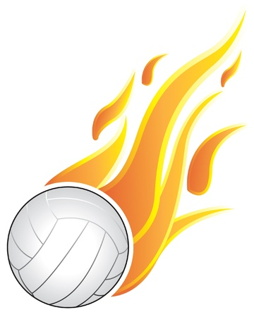 Volleyball balls with flames. On a white background