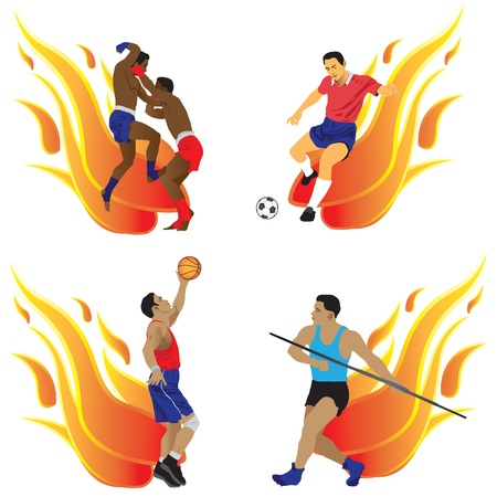 The four types of sports are football, basketball, Thai boxing, javelin on the background of flames. photo