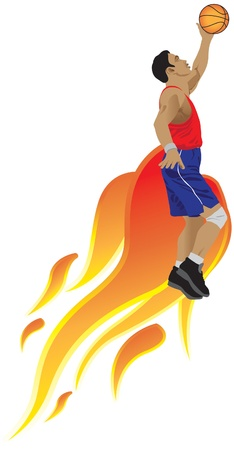 Action sport basketball and flame, illustrated Vector