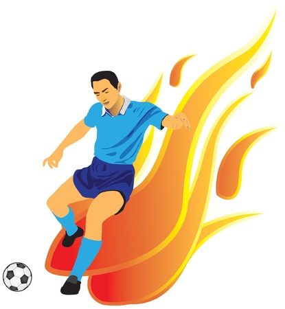 Soccer player kicking a ball and has a background as a flame Vector