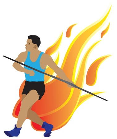 javelin: Javelin athlete and has a background as a flame
