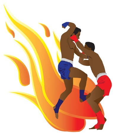 This action is a Thai boxing in flames background Vector