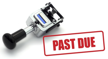 past due: Rubber Stamp indicating payment is past due on a white background. Stock Photo