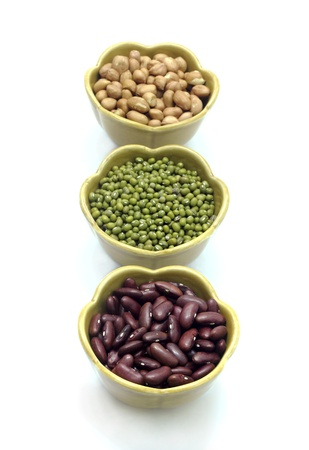 munggo: Red bean, mung beans, Peanut in cup on a white background. Stock Photo