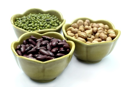 munggo: Red Bean, Peanut, mung beans in cup on a white background.