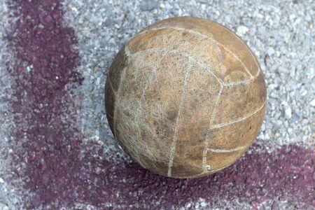Old volleyball in outdoor courts  photo