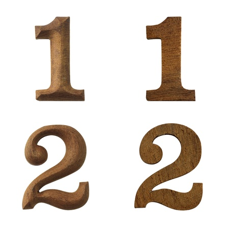 Wood number one and number two, the convex and flat, on a white background with Clipping Part.