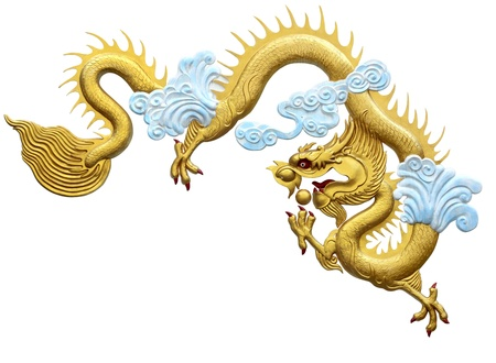 Golden Dragon, on a white background with Clipping Part Stock Photo - 10836872