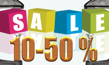 C clamp and Sale10-50 % illustration text boxes illustration