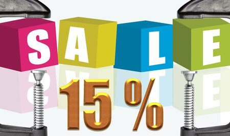 c clamp: C clamp and Sale 15 %  illustration text boxes Stock Photo