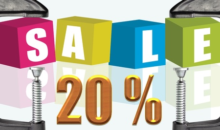 buzzwords: C clamp and Sale Sale 20 %  illustration text boxes Stock Photo