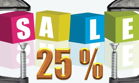 buzzwords: C clamp and Sale 25 %  illustration text boxes