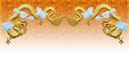 Two golden dragons. On Orange background. Stock Photo - 10879542