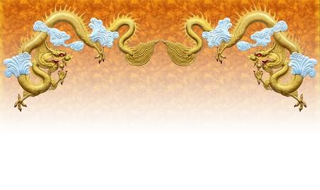 Two golden dragons. On Orange background.
