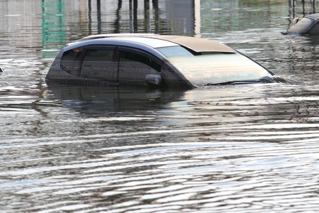 thailand flood: Flooded car