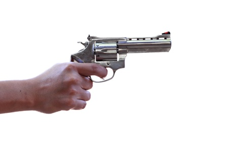 magnum: Gun in hand on white background with Clipping Part Stock Photo