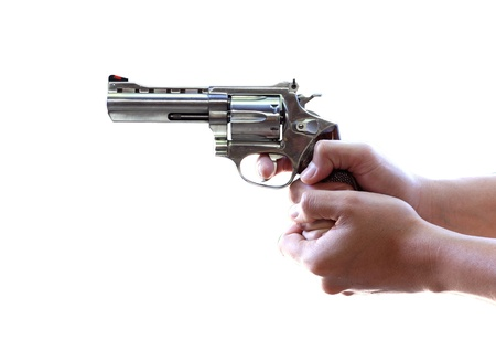 Gun in hand on white background with Clipping Part Stock Photo - 11868934