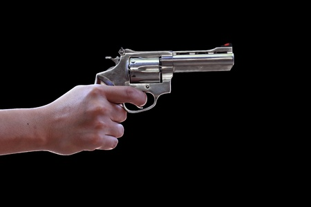 Gun in hand on a black background with Clipping Part Stock Photo - 11868932