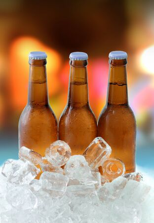 Beer bottles on ice photo