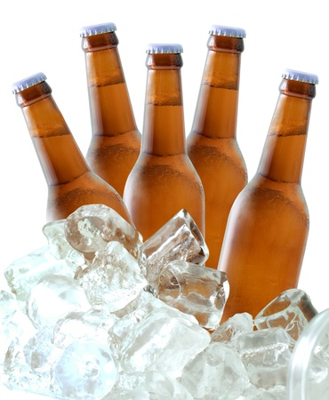 alcoholic drinks: Beer bottles on ice Stock Photo