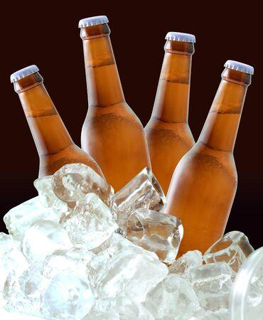 Beer bottles on ice Stock Photo