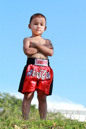 thai kick boxing: Thai Boxing kid Stock Photo