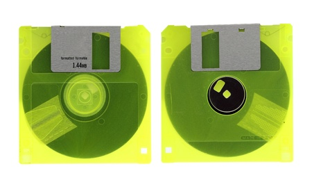 Old diskette on white background Stock Photo - 12553572