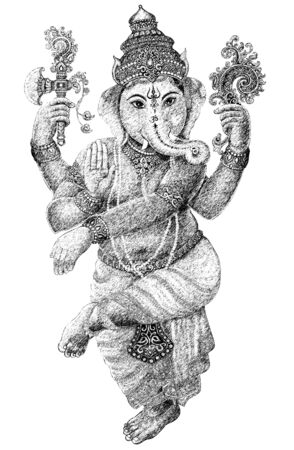 indian god: Black and white graphic art Stock Photo